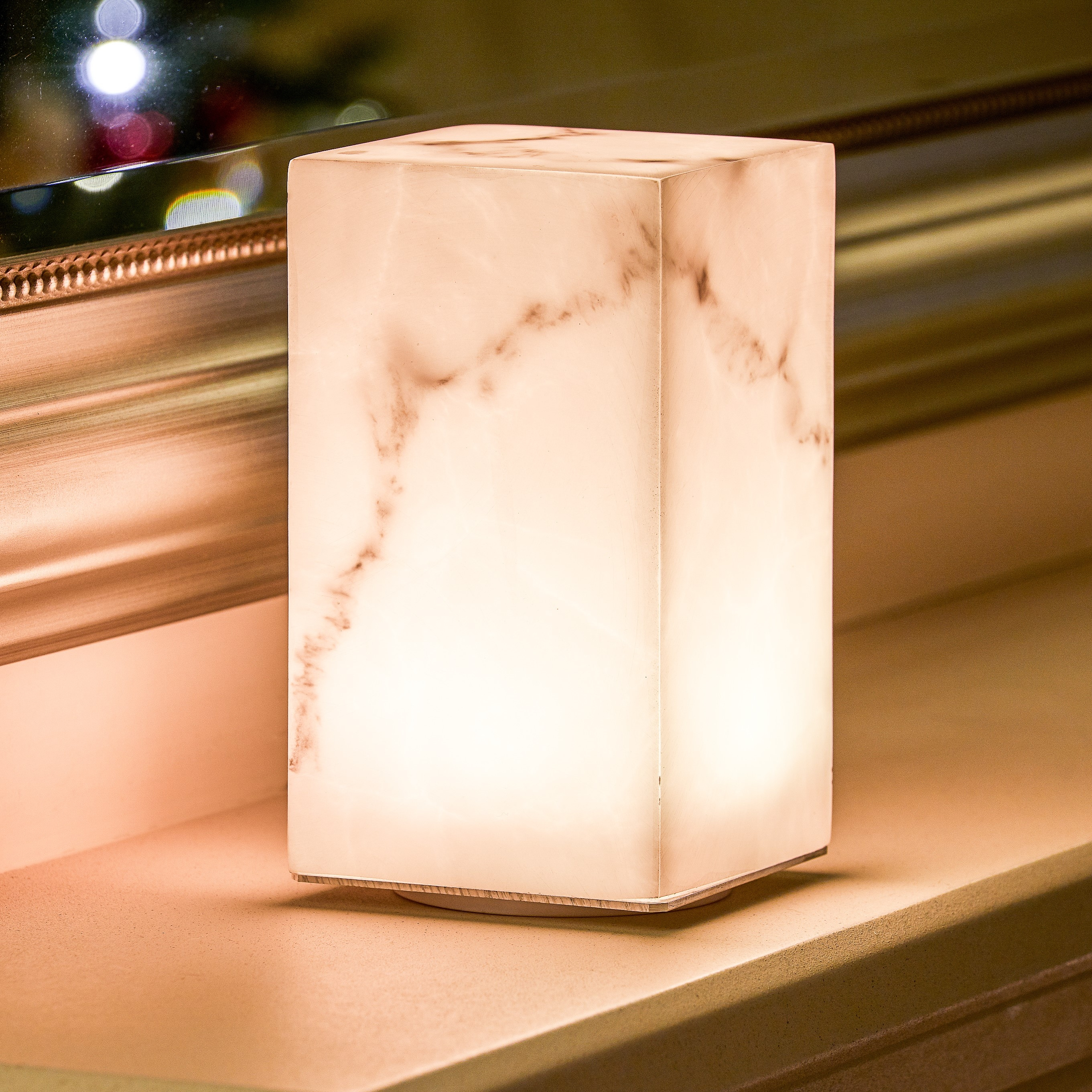 Picture of: Auraglow Rechargeable Cordless Colour Changing Led Table Lamp Marble Auraglow Led Lighting