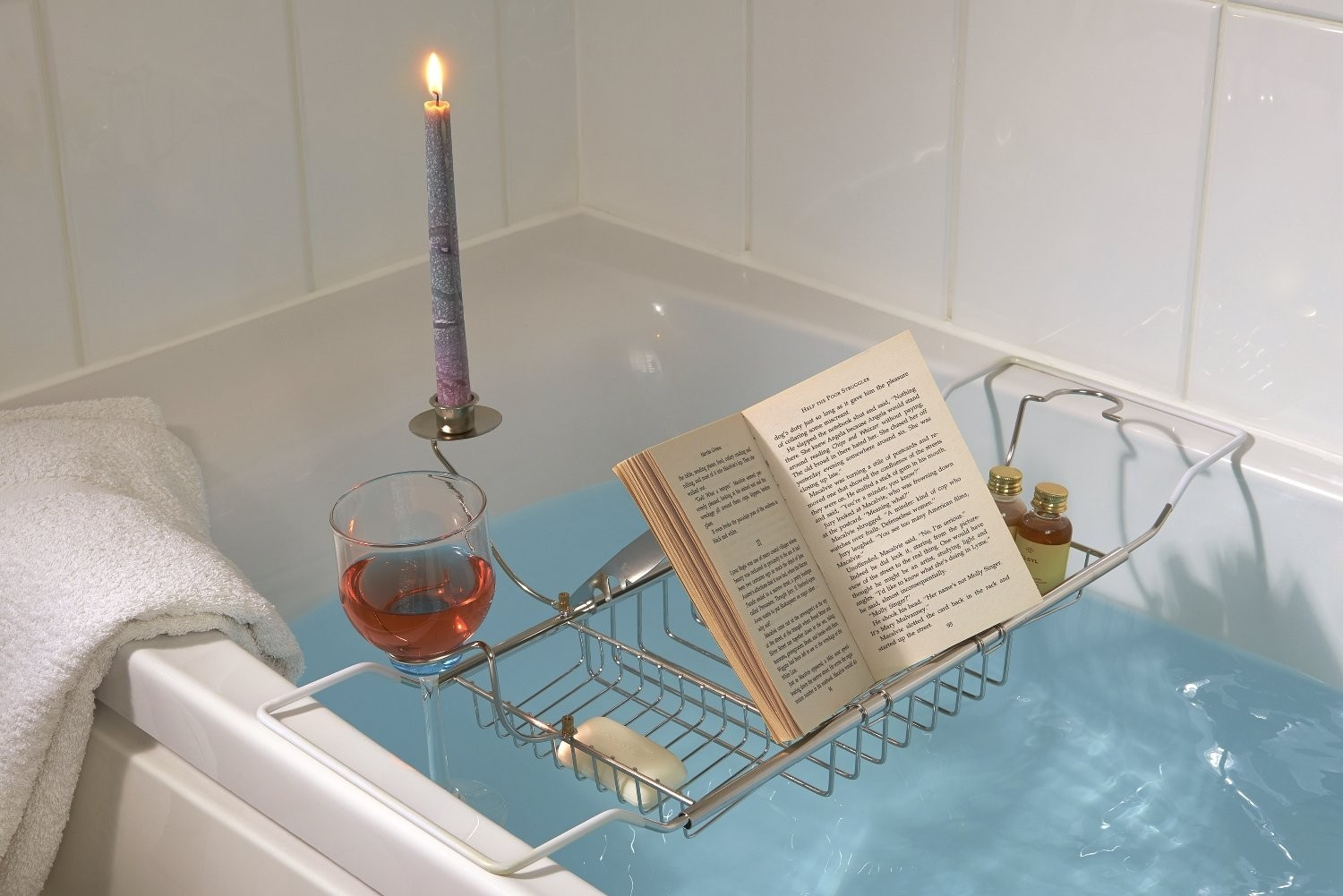 Bath Caddy with Wine Glass, Candle & Book Holder - Safield Distribution