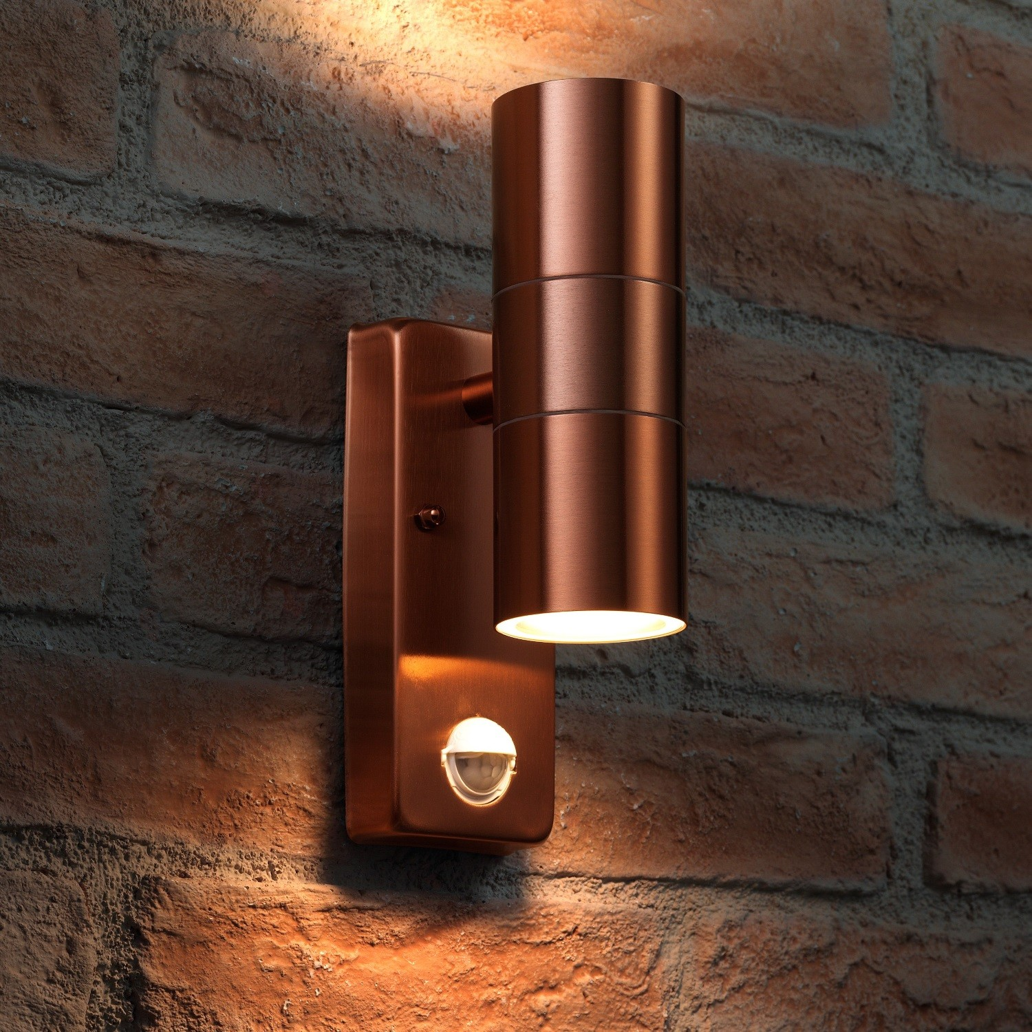 Auraglow Pir Motion Sensor Up Down Outdoor Wall Security Light Warminster Copper Safield
