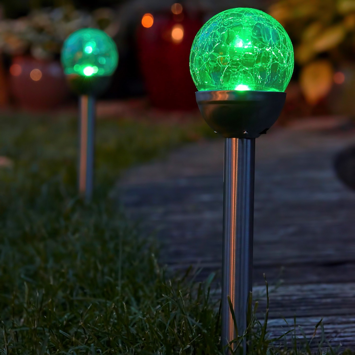 Set of 2 colour changing solar mosaic garden post lights safield set of 2 colour changing solar mosaic garden post lights aloadofball Image collections