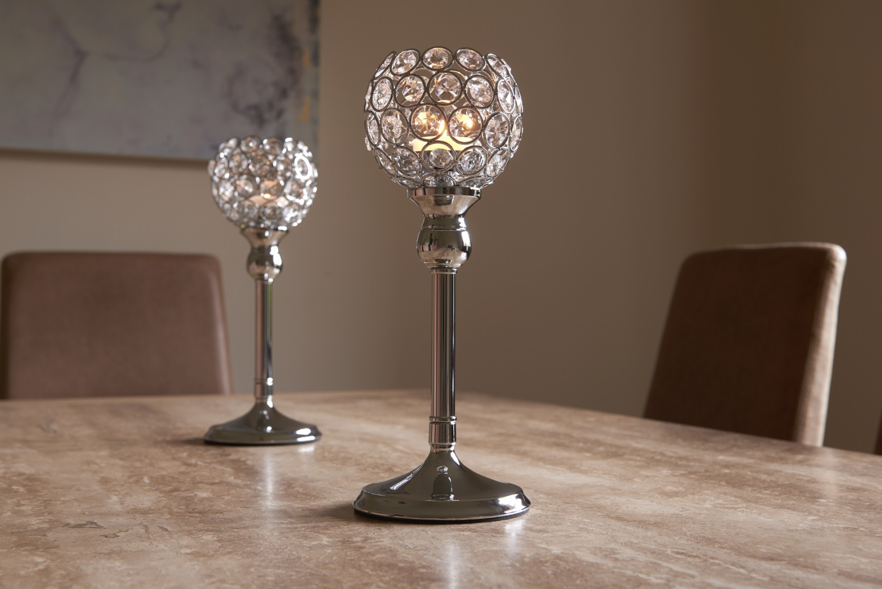 Crystal Tea Light Pillar Candle Holder Set Of Two Gold Or Silver Safield Distribution