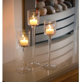 Set of 3 Elegant Tea Light Glass Candle Holders Wedding Table Centrepiece