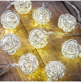 Auraglow Set of 12 Battery Operated 2.5m Indoor String LED Fairy Lights with Warm White Glow - Silver Balls.1