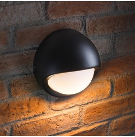 Auraglow IP44 Indoor / Outdoor 5w LED Round Wall Light Black - Warm White.1