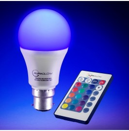 AURAGLOW 10w Remote Control Colour Changing LED Light Bulb B22, 60w EQV Warm White Dimmable Version - 3rd Generation