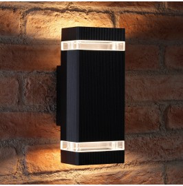 Auraglow Large Outdoor Double Up & Down Wall Light - Square