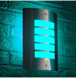 Auraglow Dusk Till Dawn Daylight Sensor Outdoor Wall Light  - Stainless Steel - Colour Changing