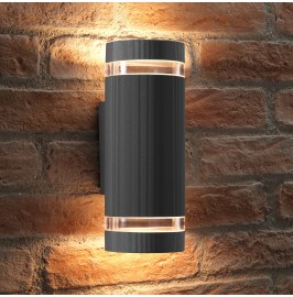 Auraglow Large Outdoor Double Up & Down Wall Light - ELTON - Silver