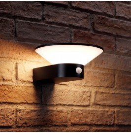 Auraglow Black Cone Integrated LED PIR Motion Sensor Wall Light