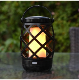 Auraglow Black Lattice Hanging Realistic Flame Lantern