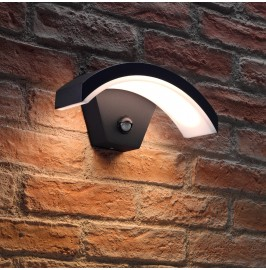 Auraglow Black Arch Integrated LED PIR and Daylight Sensor Outdoor Wall Light