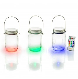 Solalux Set of 3 Remote Control Colour Changing Battery Operated Glass Jar Lights LED Lanterns.1