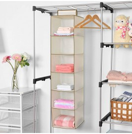 6 Shelf Hanging Wardrobe Storage Unit Sweater Organiser