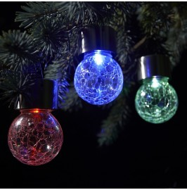 Set of 3 Solar Hanging Crackle Globe Lights - Colour Changing.4