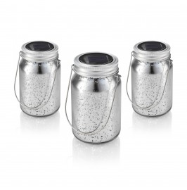 Solalux Set of 3 Solar Glass Mercury Jars Outdoor Hanging Lights LED Garden Lanterns - Silver