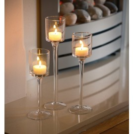 Set of 3 Tea Light Glass Candle Holders