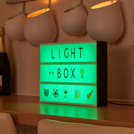 Auraglow Colour Changing USB Cinematic LED Light Box with Emoji's