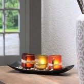 Natural Candlescape Set of 3 Decorative Candle Holders with Rocks and Tray