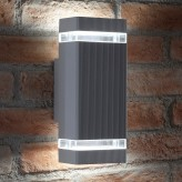 Auraglow Indoor / Outdoor Double Up & Down Wall Light - Silver - Cool White LED Bulbs Included