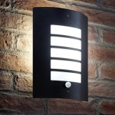 Black Wall Light with PIR Motion Sensor