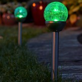 Auraglow Set of 2 Solar Mosaic Post Lights Outdoor Garden LED Path Crackle Globes - Colour Changing