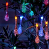 Auraglow Set of 20 Solar Crystal Teardrop Garden Outdoor LED String Lights