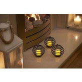 Auraglow Black Spiral Flickering Flame LED Candles – Pack of 3