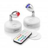 Auraglow LED Wireless Battery Powered Remote Spotlights – Cool White & Colour Changing – Twin Pack