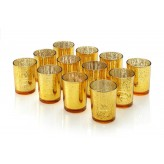 Set of 12 Mercury Glass Votive Candle Tealight Holders