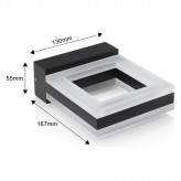 Auraglow 12w Indoor / Outdoor IP54 Warm White 3000K, 730lm, 60 LED Up & Down Wall Light - Square .11