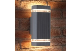 Auraglow Outdoor Double Up & Down Wall Light - CHILTON - Silver